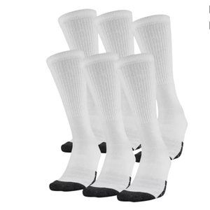 Under Armour Adult Tech Crew Socks 6 Pack White M